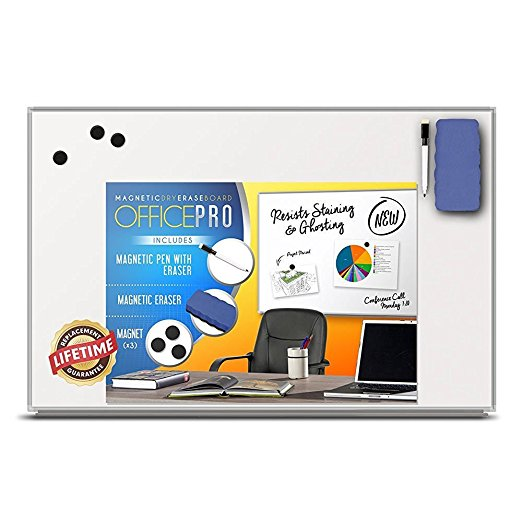 Best Gifts for People with ADHD OfficePro Magnetic Dry Erase Board with Pen and Tray