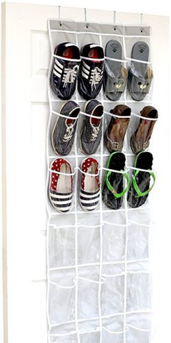 ADHD Organizers Simple Houseware 24 pockets Over The Door Hanging Shoe Organizer